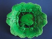 Unusual Green Majolica 'Water Lily' Serving Dish c1870 #1